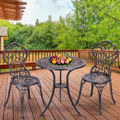 Ezekiel Outdoor Leaf 3 Piece Bistro Set Fleur De Lis Living