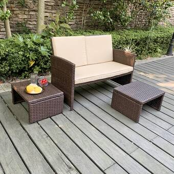 Home Loft Concepts Mercer 2 Piece Rattan Seating Group With Cushions Reviews Wayfair Ca