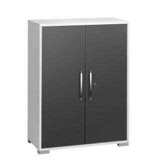 110 cm Aufbewahrungsschrank Allon | Flur & Diele > Mehrzweckschränke | Icy-weiß / grau hochglanz | Metro Lane
