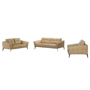 Aaden 3 Piece Leather Living Room Set ByBrayden Studio