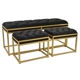 Aldana Upholstered 3 Piece Bench Set by Mercer41