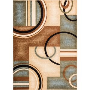 Elba Modern Blue Arcs & Shapes Area Rug