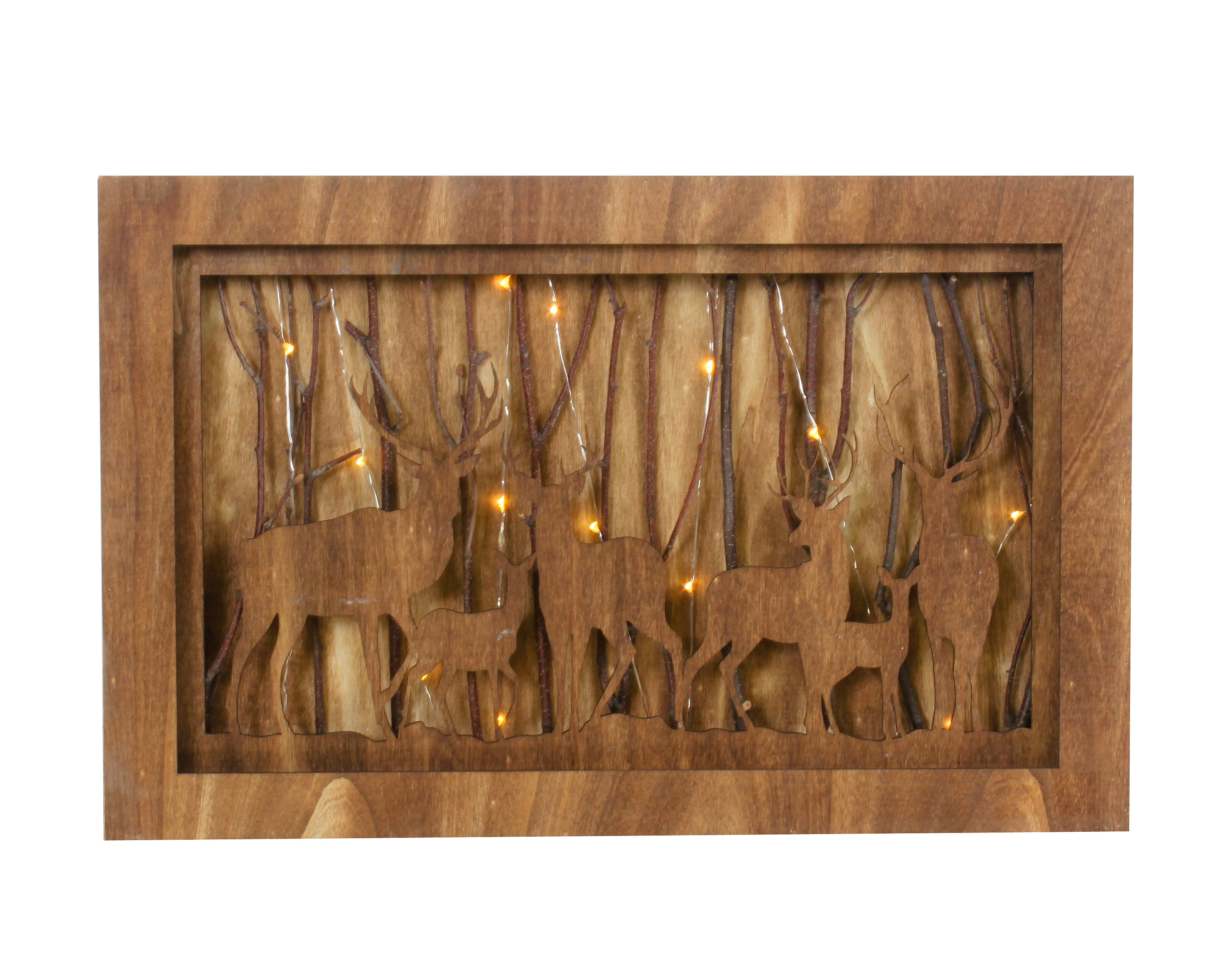 The Holiday Aisle Deer In Forest Led Light Box Decorative Accent Wayfair