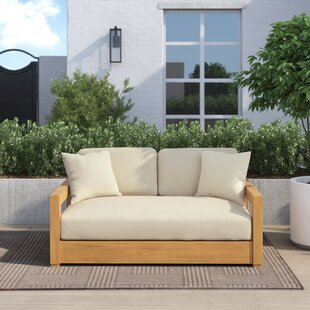 """Montford 52.75"""" Wide Outdoor Teak Loveseat with Cushions"""