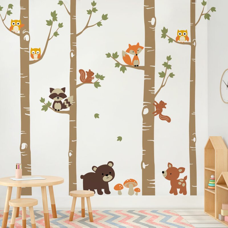 simpleshapes birch trees with cute forest animals wall decal