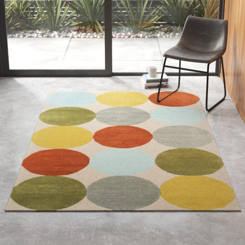 Delmar Polka Dots Handmade Tufted Wool Green Gray Orange Area Rug Reviews Allmodern