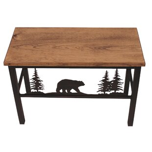 Loon Peak Hardwick Bear and Tree Scene Wood Bench