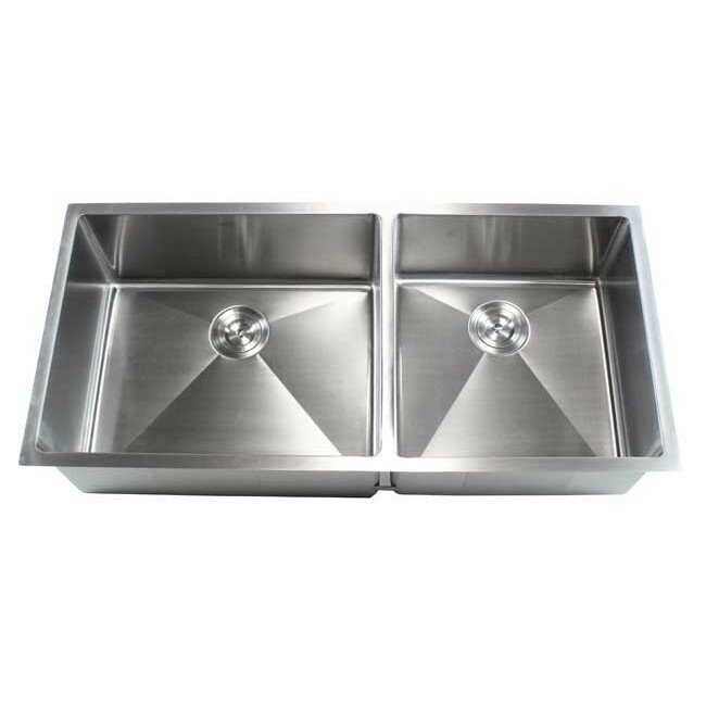 ariel 42   x 19   double bowl undermount kitchen sink emodern decor ariel 42   x 19   double bowl undermount kitchen sink      rh   wayfair com