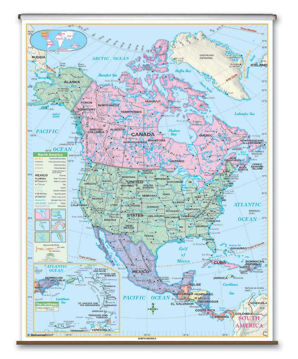 Essential Wall Map - North America on map south america, map of alaska, map of the usa states, map of asia, map of the dominican republic, map of the wisconsin, map of the world, map of the united states, map of europe, map of the canadian shield, map of the oceania, map of china, map of canada, map of the russia, map of the earth, map of the antarctica, map of the india, map of the mexico, map of the andean region, map of the jamaica,
