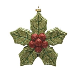 Merry and Bright Xmas Glitter Shatterproof Poinsettia Christmas Ornament