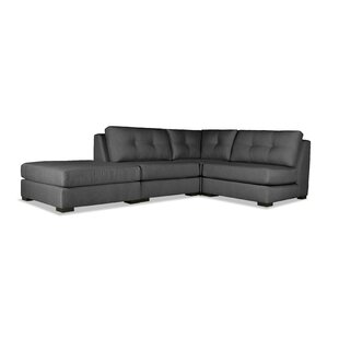 Glaude Buttoned L-Shape Modular Sectional with Ottoman