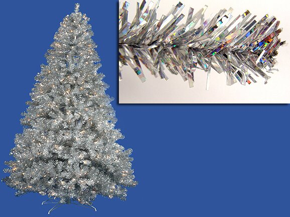 7 sparkling silver full artificial tinsel christmas tree with clear lights - Silver Tinsel Christmas Tree