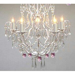 Clemence 5-Light Pink Shade Chain Crystal Chandelier