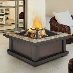 Real Flame Alderwood Steel Wood Burning Fire Pit Table