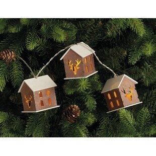 Wooden House Shade LED 10 Light LED String Lights By The Seasonal Aisle
