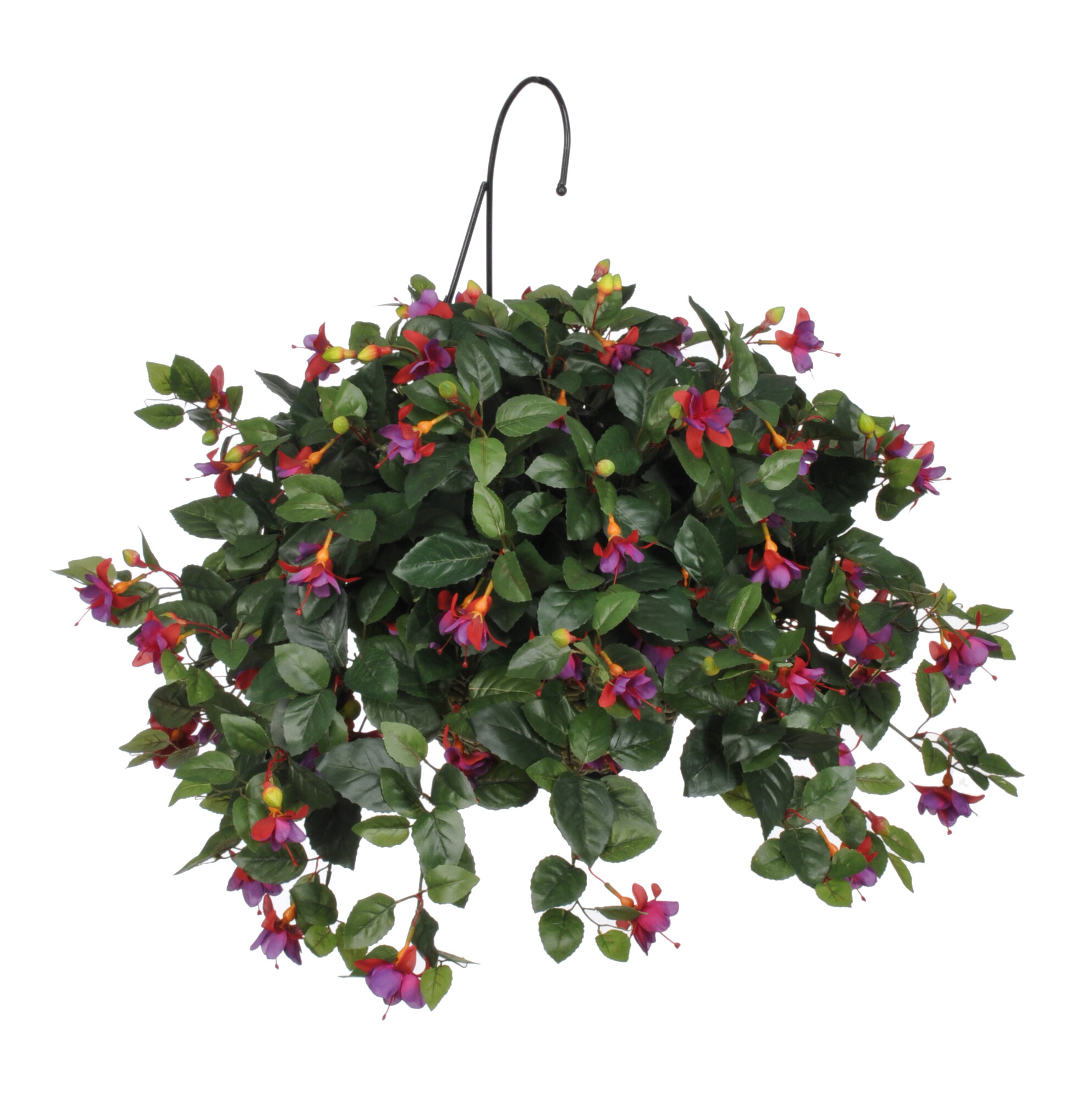 House Of Silk Flowers Artificial Fuchsia Hanging Plant In Basket