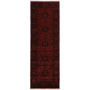 Affordable Price One-of-a-Kind Cremeans Hand-Knotted Runner 2'10 x 9'8 Wool Red/Black Area Rug By Isabelline