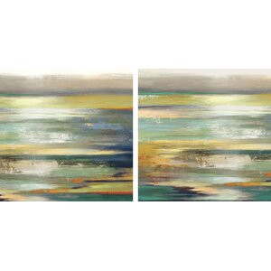 'Evening Tide' 2 Piece Painting Print on Wrapped Canvas Set