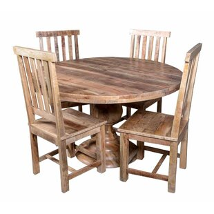 Jone Round Table 5 Piece Solid Wood Dining Set Bloomsbury Market