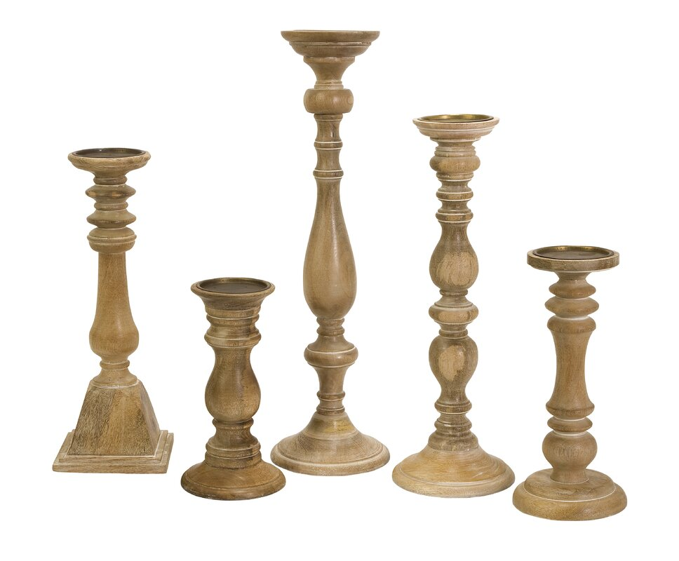 5-Piece Turned Candleholder Set