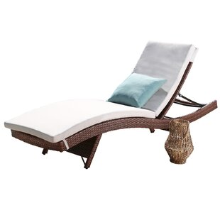 Brayden Studio Battista Outdoor Wicker Reclining Chaise Lounge with Cushion