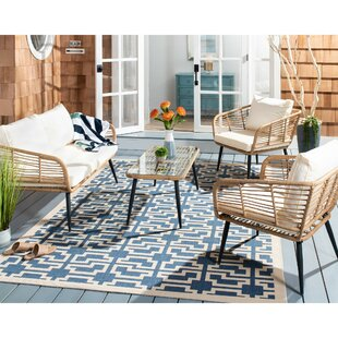 Jameown 4 Piece Rattan Sofa Seating Group With Cushions By Highland Dunes