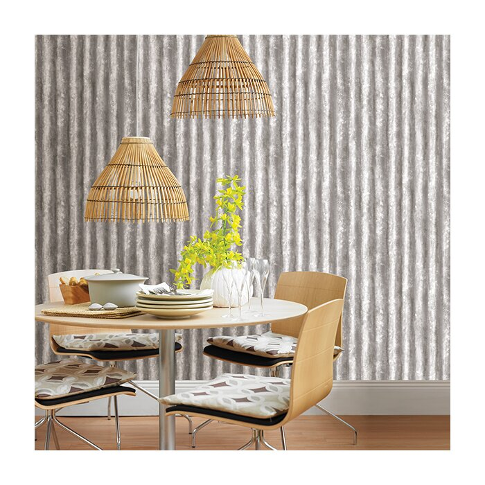 Corrugated Metal 33 X 20 5 Geometric Panel Wallpaper