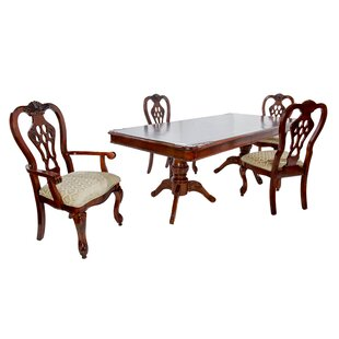5 Piece Solid Wood Dining Set by Hazelwood Home