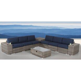 Burrell 10 Piece Rattan Sunbrella Sofa Set with Cushions