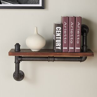 Trent Austin Design Rectangle Wood and Metal Floating Wall Shelf