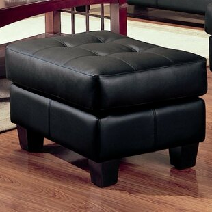 Charlton Home Ptolemy Leather Cocktail Ottoman