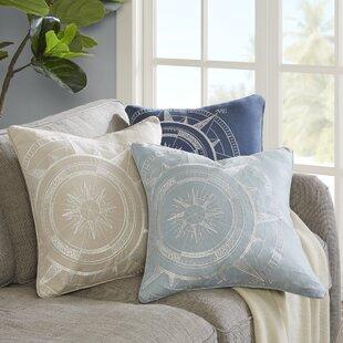 Steer Compass Linen Embroidery Throw Pillow