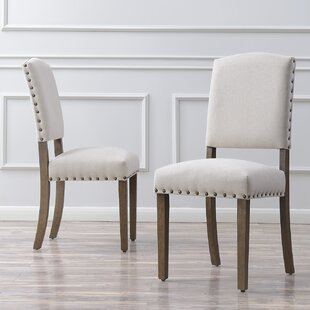 Rodarte Linen Padded High Back Upholstered Dining Chair (Set of 2)