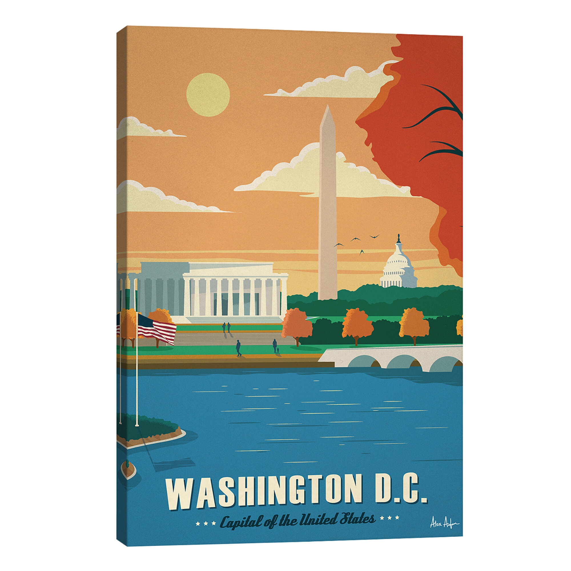 East Urban Home Washington D C Graphic Art Print On Wrapped Canvas Wayfair Co Uk