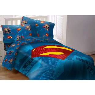 Superman Emblem 4 Piece Reversible Comforter Set by Crover