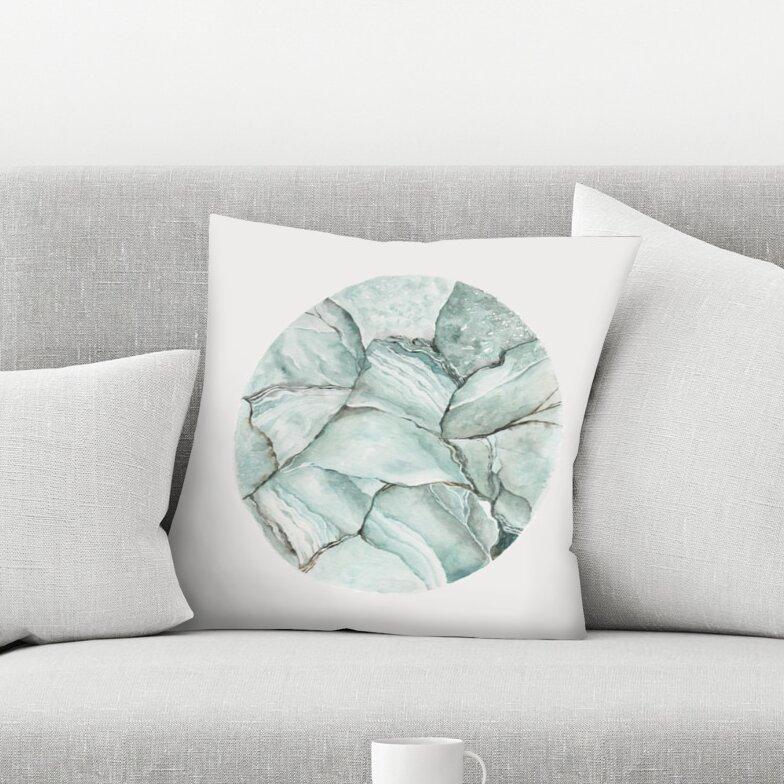 East Urban Home Shealeen Louise Aquamarine Stone Throw Pillow Wayfair