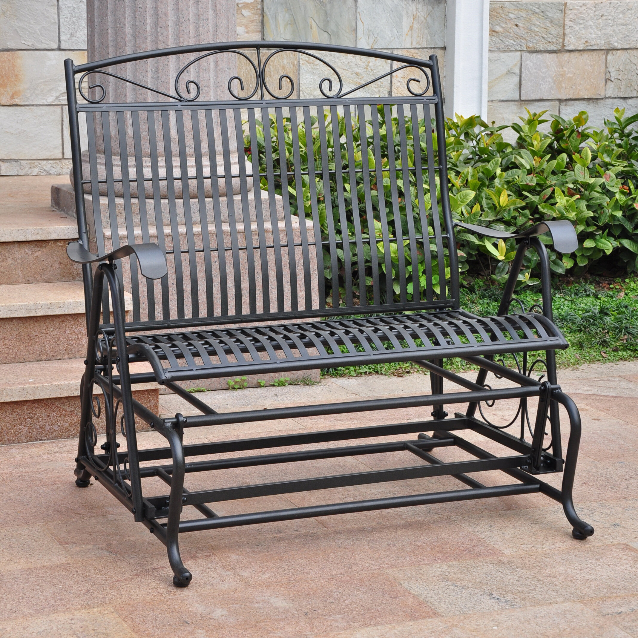 Three Posts Snowberry Iron Double Patio Glider Bench & Reviews