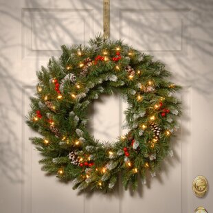 Brown/Green/Red Pre-Lit Wreath