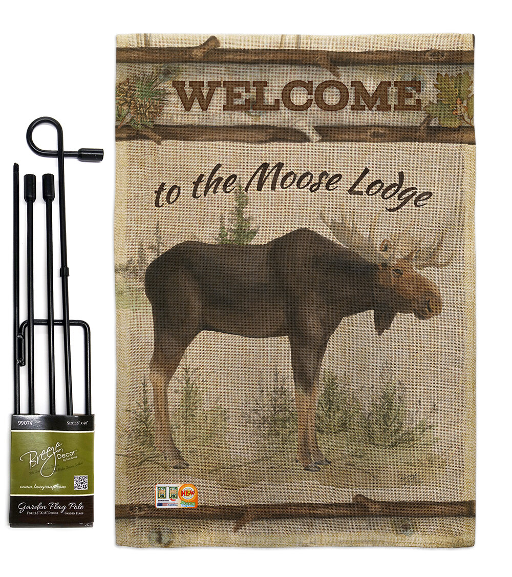 The Moose Lodge 2 Sided Polyester Blend 1 5 X Ft Garden Flag