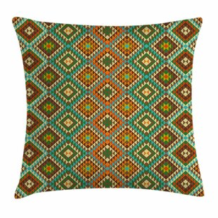 Indian Mosaic Folkloric Ethnic Square Pillow Cover