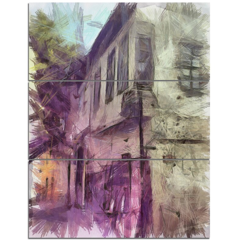 Designart Old City Street Watercolor Sketch 3 Piece Graphic Art On Wrapped Canvas Set Wayfair