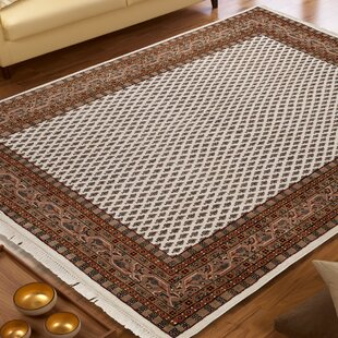Hand Knotted Cream/Brown Rug by Hazelwood Home
