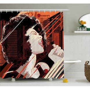 Hazlett Musical Jazz Singer Woman Print Single Shower Curtain