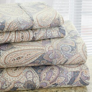 Park Avenue 350 Thread Count 4 Piece Cotton Rich Paisley Printed Sheet Set