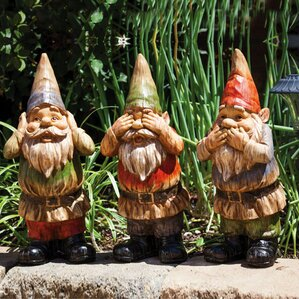 3 Piece Wise Gnomes Statue Set (Set Of 3)