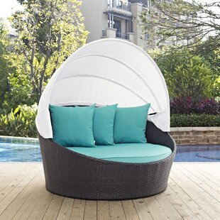 Latitude Run Ryele Canopy Outdoor Patio Daybed with Cushions