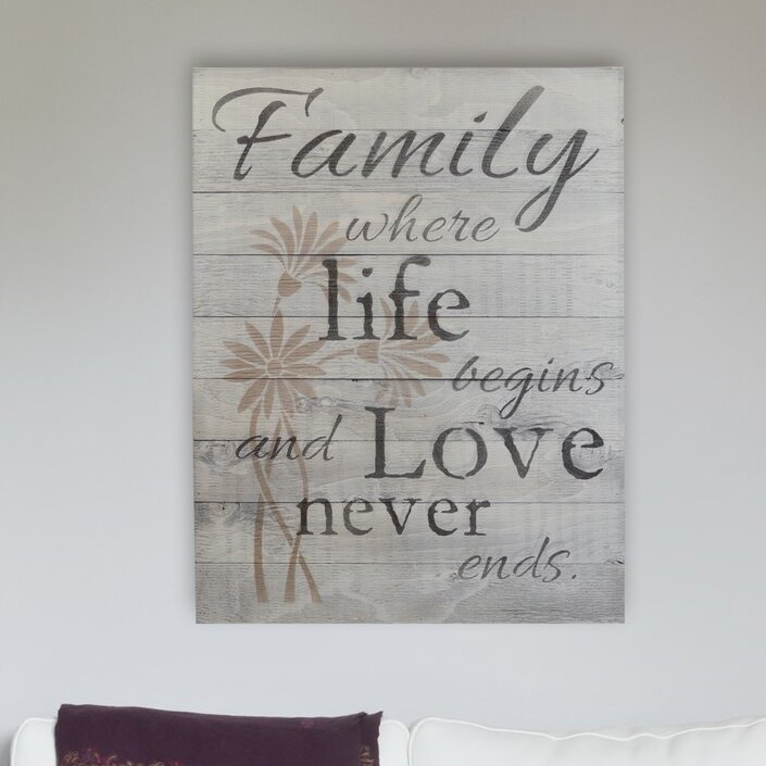 FAMILY WHERE LIFE BEGINS AND LOVE NEVER ENDS Wooden Heart with Heart Charm