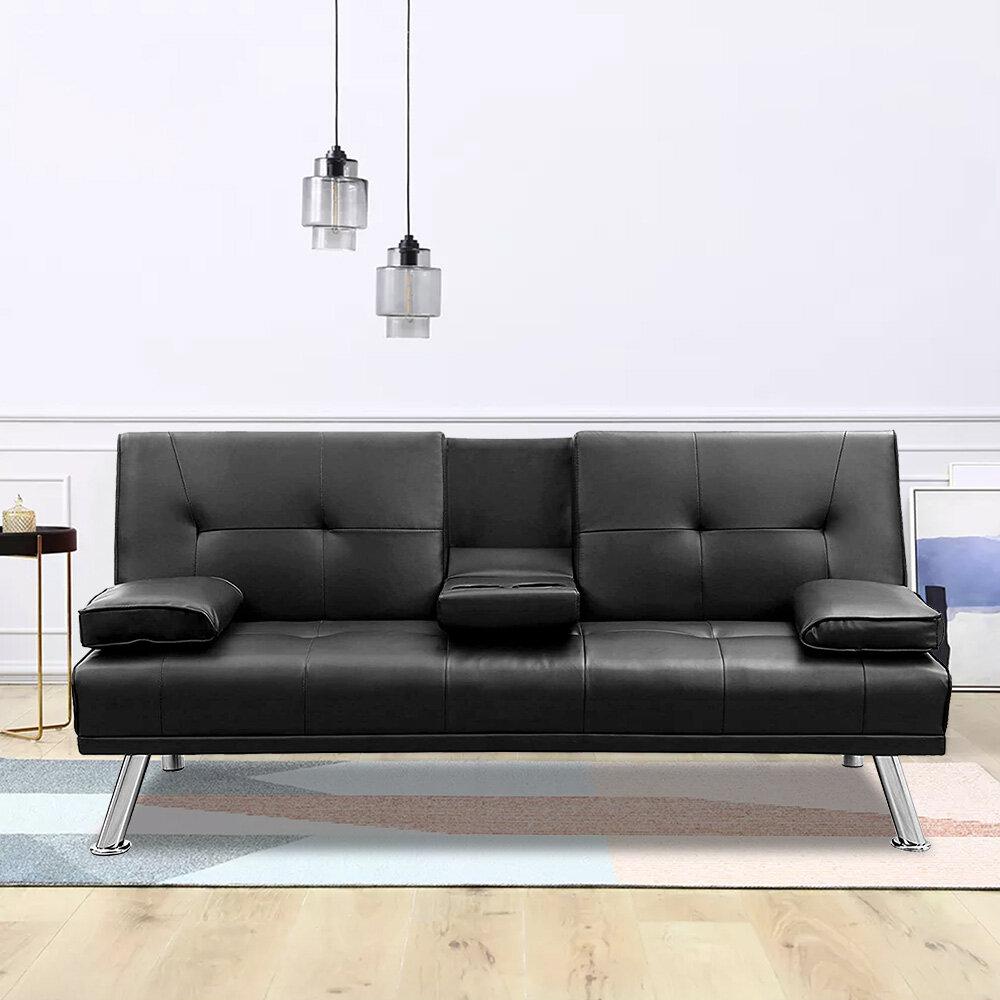 Futon Sofa Bed Modern Faux Leather Fold