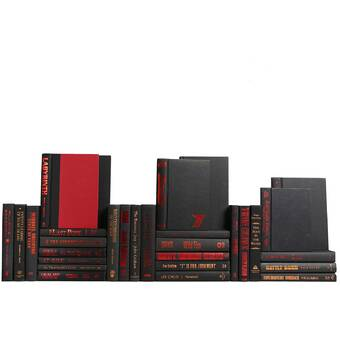 Booth Williams Authentic Decorative Books Custom Set Modern Black And Red Accented Books Set Of 30 Wayfair
