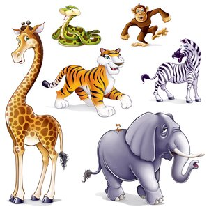 Jungle Animal Props Wall Decal